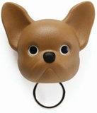 Qualy Franse bulldog sleutelhouder bruin_