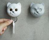 Qualy Neko kat sleutelhouder grijs_