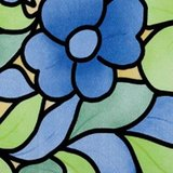 Raamfolie bloemen blauw (45cm)_
