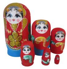 Babouska poppetjes 6-delig rood/blauw