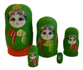 Babouska poppetjes 5-delig groen