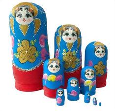 Babouska poppetjes 10-delig blauw/rood