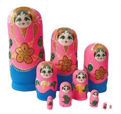 Babouska poppetjes 10-delig neon roze/blauw