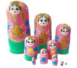Babouska poppetjes 10-delig roze/groen