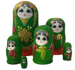 Babouska poppetjes 6-delig groen/rood