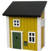 Houten brievenbus Zweeds posthus geel
