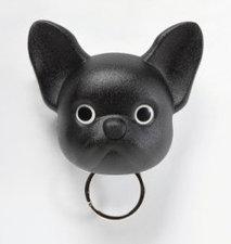 Qualy Franse bulldog sleutelhouder zwart