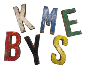 Partij Vintage houten letters (Circa 115 letters)