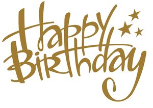 Tekststicker Happy Birthday goud 43x60 cm