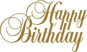 Tekststicker Happy Birthday goud 75x125 cm