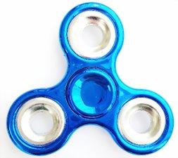 Fidget spinner metallic blauw/zilver