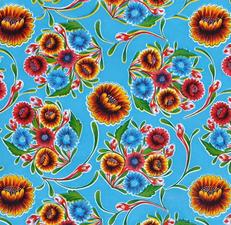 Rond Mexicaans tafelzeil floral lichtblauw (120cm)