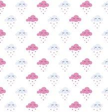 Statisch raamfolie wolkjes roze (46cm)