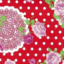 Rond tafelzeil funky flowers rood (140cm)