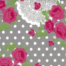 Rond tafelzeil funky flowers grijs (140cm)