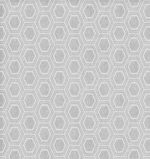 65x140cm Restje tafelzeil honingraat zilver/grijs