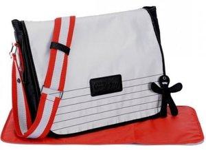 Luiertas Little Company courier bag lichtgrijs/rood
