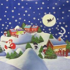 60x140cm Restje tafelzeil Kerstsfeer blauw