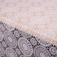 SALE tafelzeil kant wit rond patroontje 135x140cm