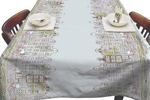 Rond tafelzeil grachtenpanden (140cm)