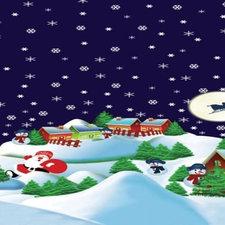 Ovaal tafelzeil Kerstsfeer donkerblauw