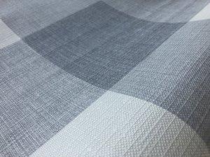 Rond geblokt tafelzeil grijstinten (140cm)