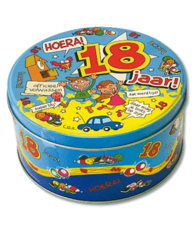 Koek- snoeptrommel: Hoera 18 jaar!