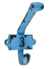 Vintage kapstok haak nummer 3 blauw