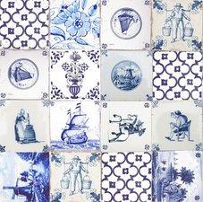 Ovaal tafelzeil delftsblauwe tegeltjes