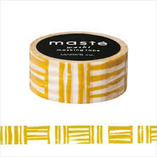 Masking tape Masté mosterd bruine strepen