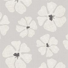 45x140cm Restje tafelzeil grote bloemen grijs
