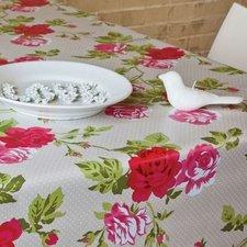 45x140cm Restje tafelzeil nopjes grijs met rozen
