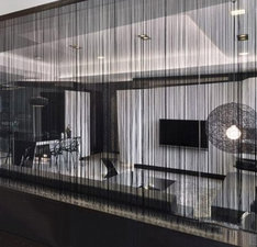 Brandvertragende draadjesgordijnen zwart 300x400cm