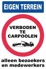 XL Pictogram sticker Verboden te carpoolen