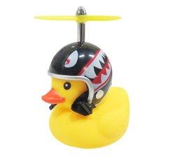 Bad eend met helm fietslamp/toeter tanden zwart (met propeller)
