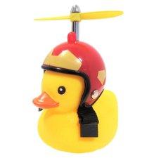 Badeend met rode helm fietslamp/toeter (met propeller)