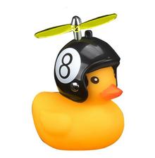 Bad eend met helm fietslamp/toeter 8 ball (met propeller)