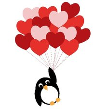 Tegelsticker pinguïn love 15x15cm