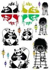 Fietsstickers panda family