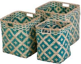 B-keus Bamboe opbergmand groot zeeblauw/groen