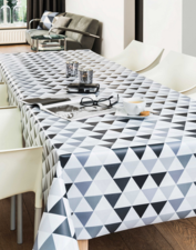 50x140cm Restje tafelzeil piramide grijs/zwart