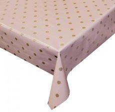 30x140cm Restje tafelzeil roze met metallic stippen