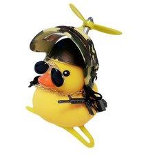 Badeend fietslamp/toeter gangster camouflage (met propeller)
