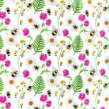 Rond tafelzeil bijen en bloemen (140cm)