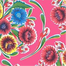 Rond Mexicaans tafelzeil floral fuchsia (120cm)