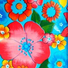 Rond Mexicaans tafelzeil Rain of flowers blauw (120cm)