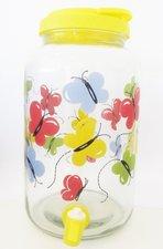 Glazen limonadetap / waterkan met tap vlinders - geel