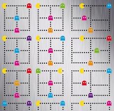 Proefstaaltje: plakfolie PacMan Acrade Games geborsteld rvs look