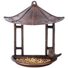 Wand vogelvoederhuis + vogeltje gietijzer