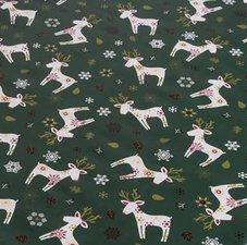 Ovaal kerst tafelzeil eland donkergroen